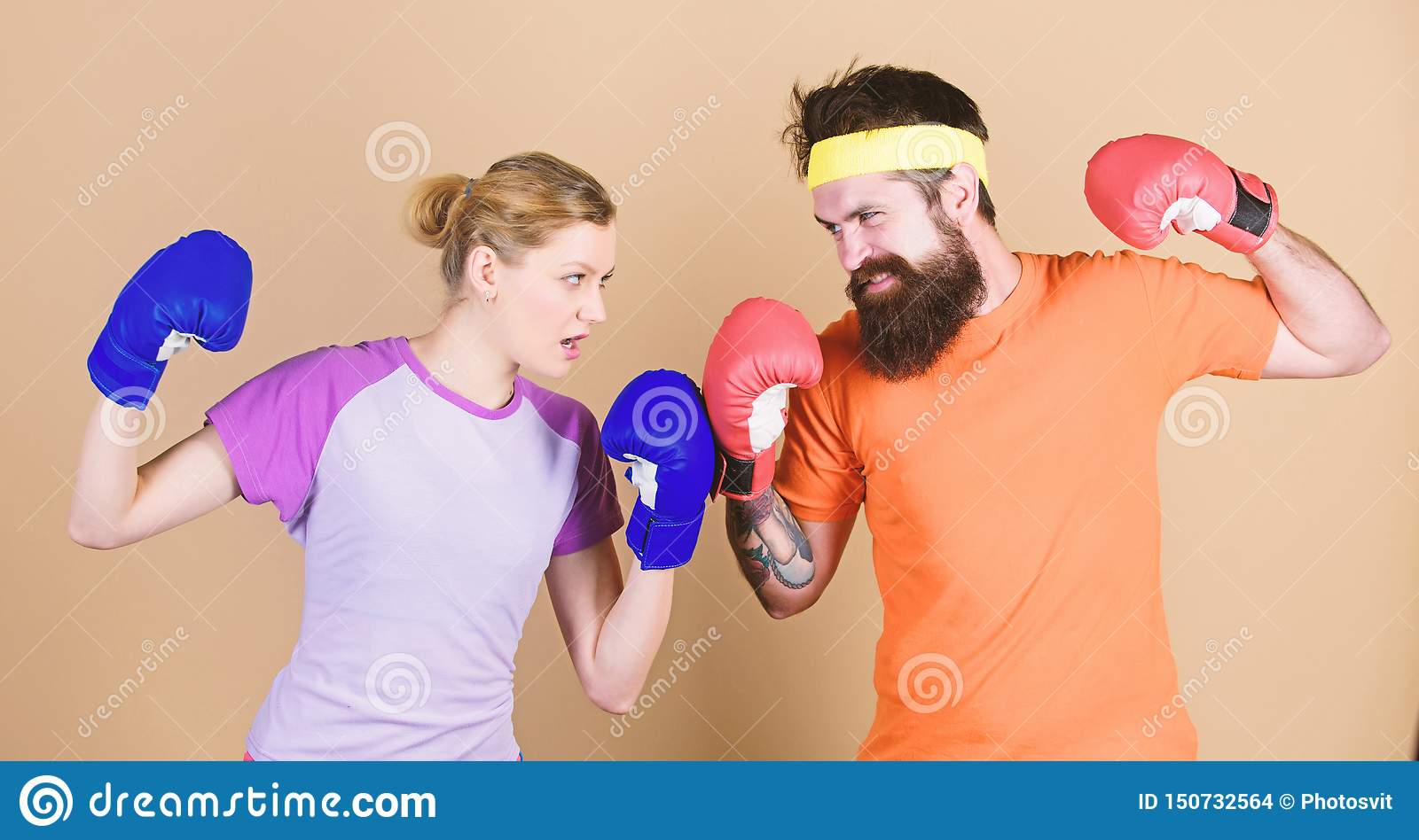 Losers complain champions train. Happy woman and bearded man workout in gym. knockout and energy. couple training in