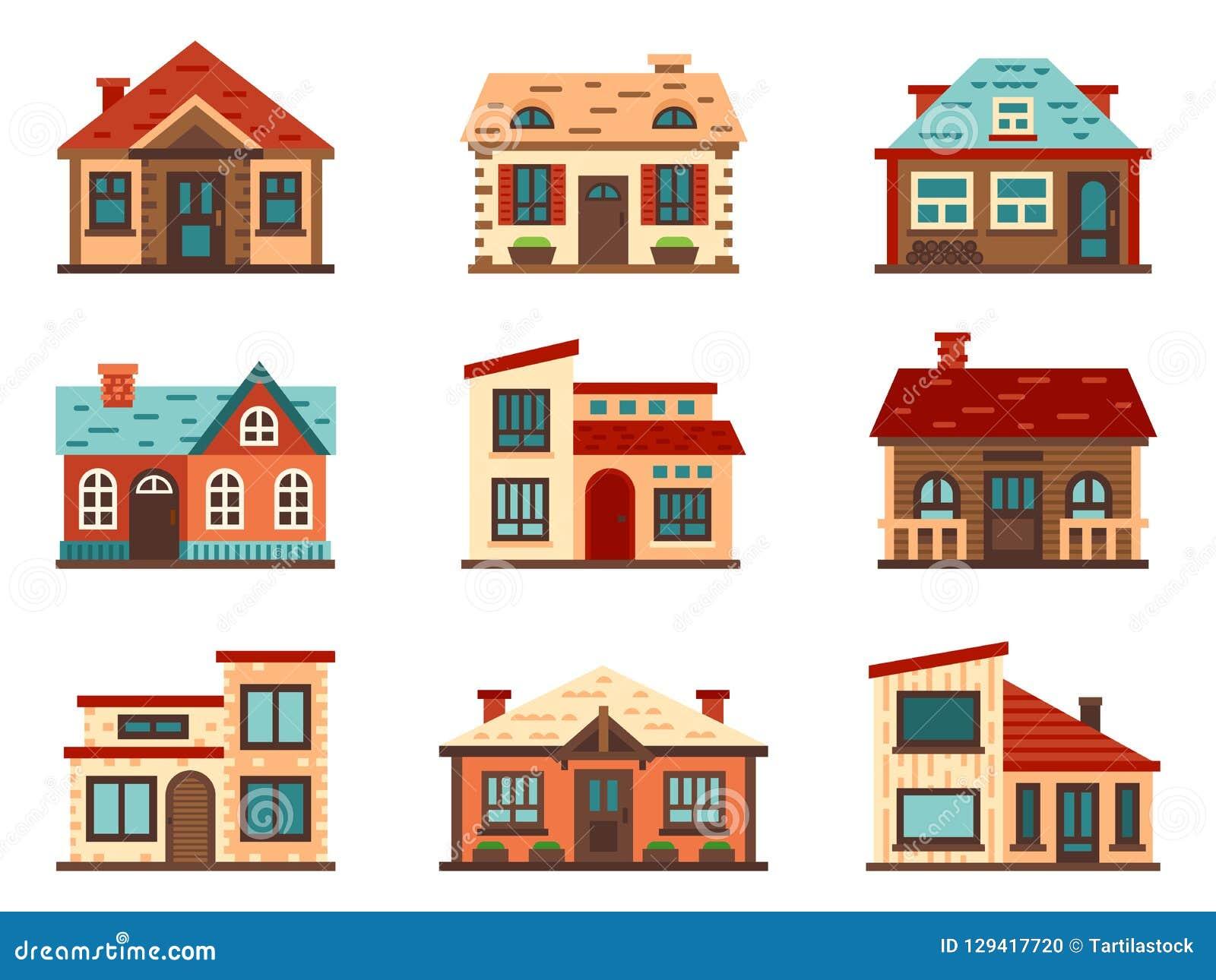 Losgemaakt huis in de voorsteden Het leven huizen, de huisvestende dakbouw en de vector vlakke illustratie van de huisvoorgevel