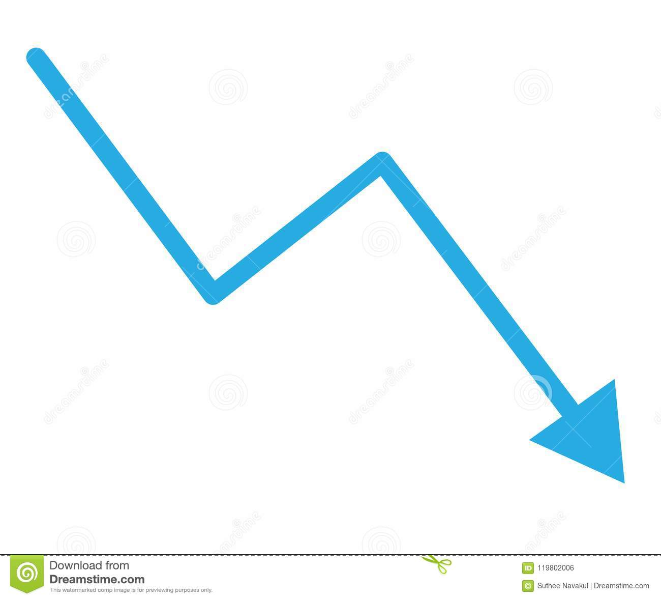Loss bar chart. decline arrow isolated on white background.