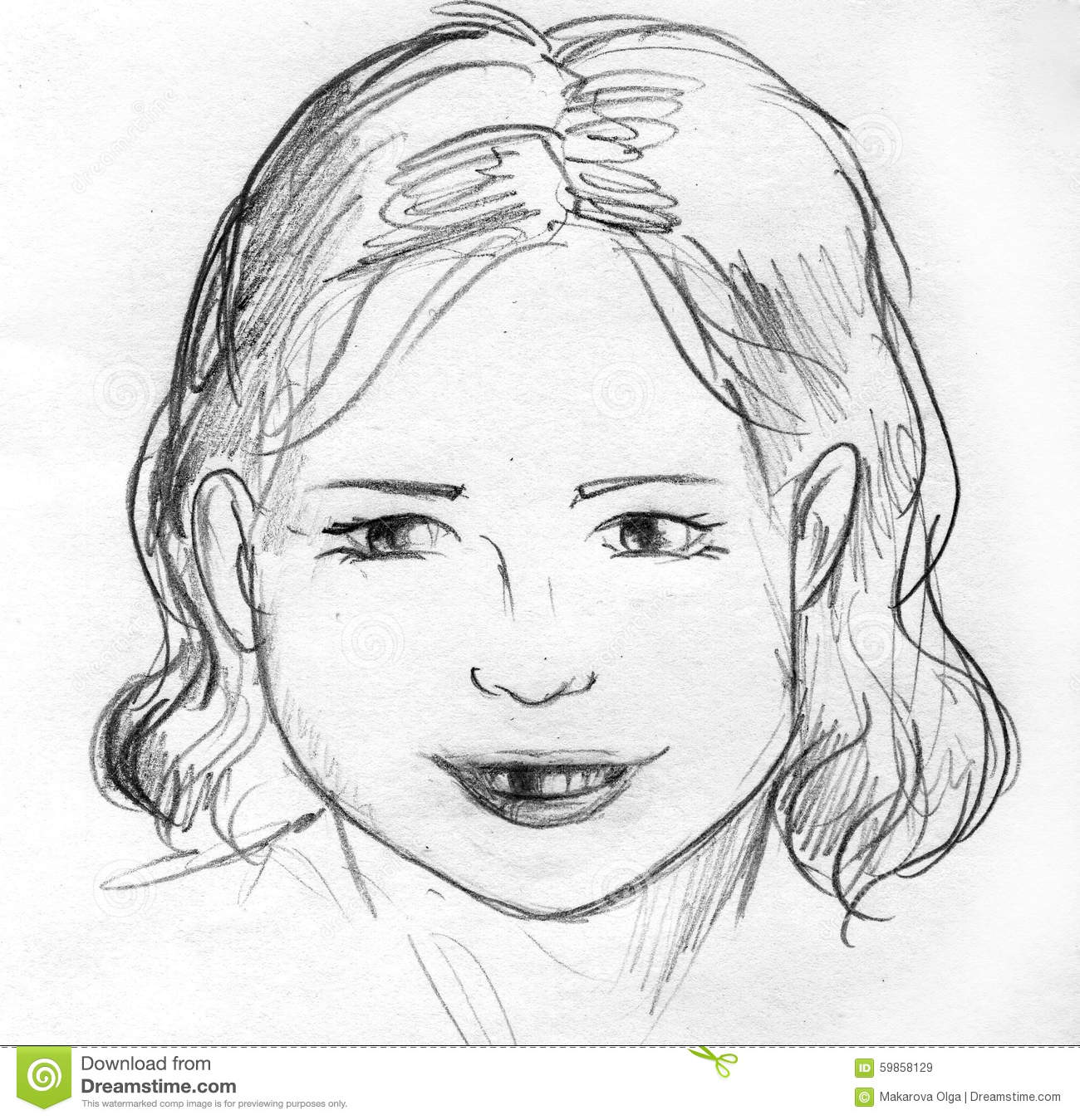 Lost a baby tooth pencil sketch vector illustration