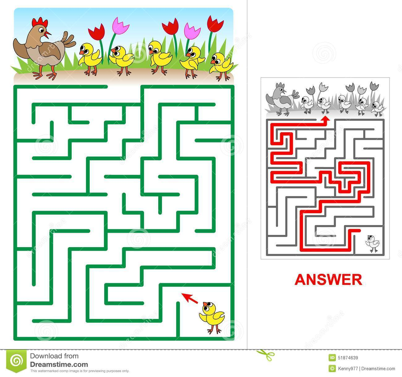 Lost Chicken Maze For Kids Stock Vector Image 51874639