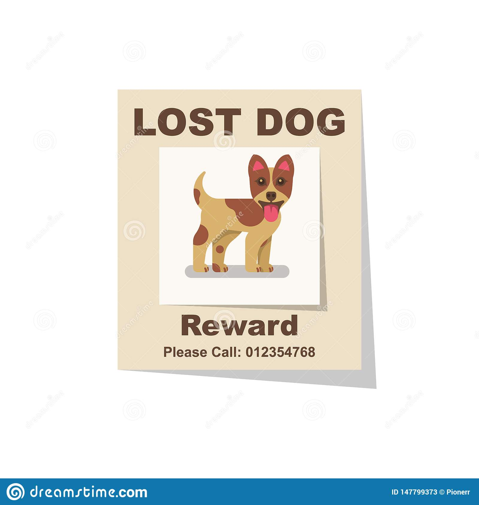 lost dog  reward for the find  missing poster stock vector
