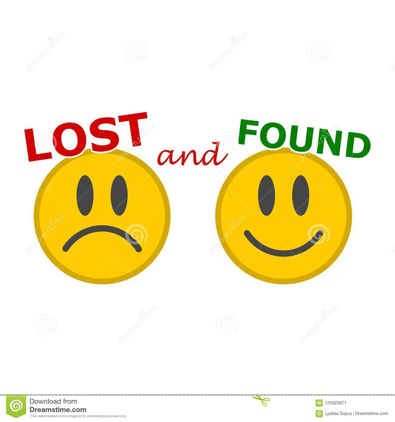 lost and found sign stock vector illustration of loosing 124322871