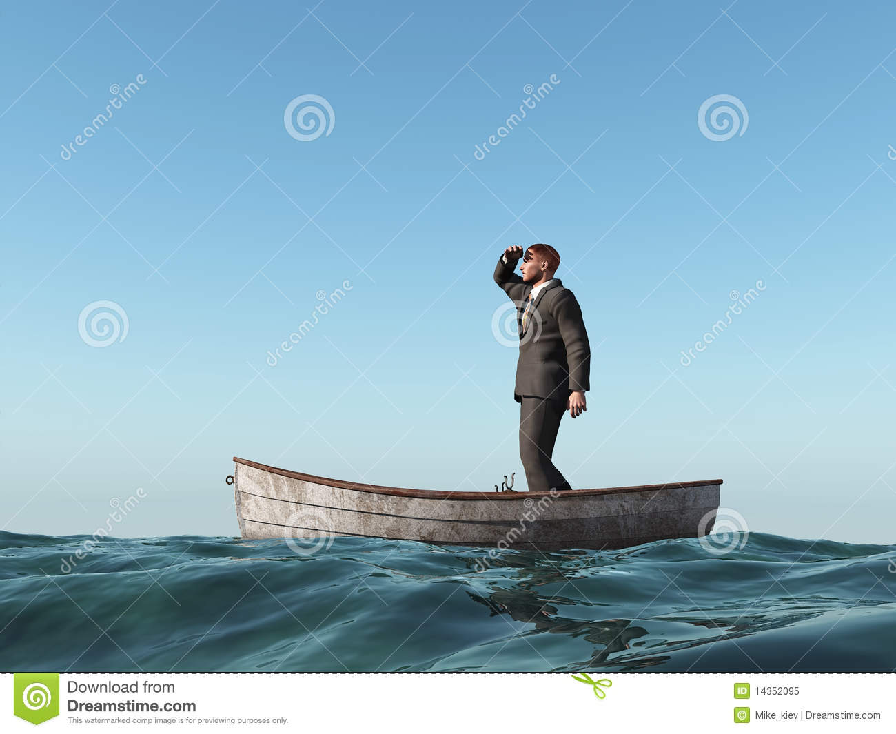 Lost Man In A Boat Royalty Free Stock Photo Image 14352095