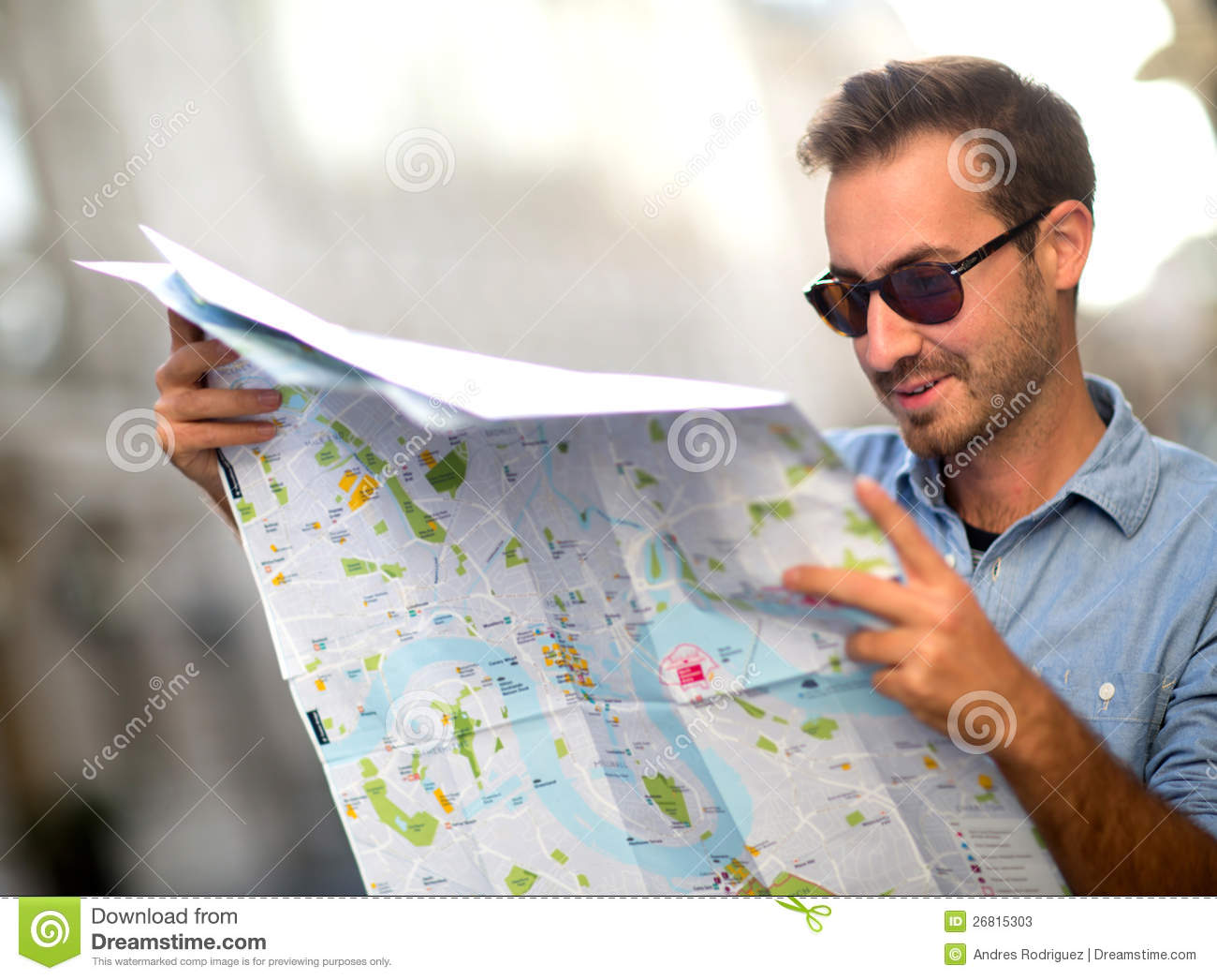Lost person with map