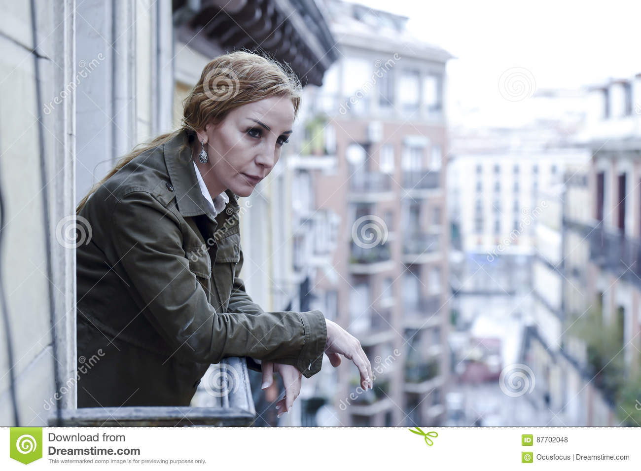 Groovy Lost And Sad Woman At Home Balcony Suffering Depression Download Free Architecture Designs Scobabritishbridgeorg