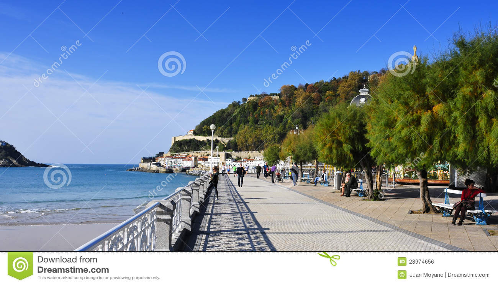 Losu Angeles Concha plaża w San Sebastian, Hiszpania