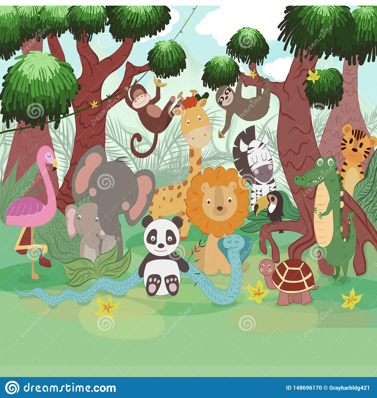 A lot of animals on the tree and plants