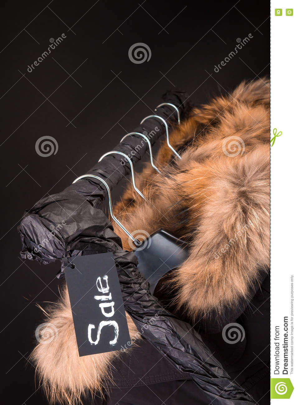 Lot Of Black Coats, Jacket With Fur On Hood Hanging Clothes