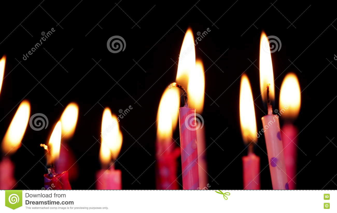 Lot Of Candles For Birthday Move From Right To Left And Rotate Stock Video