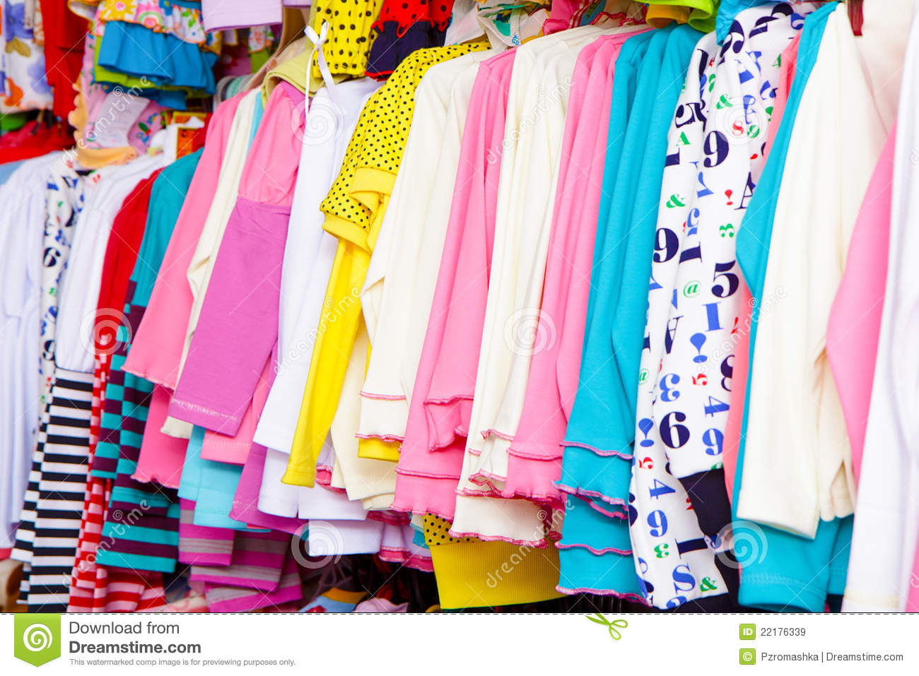 A Lot Of Clothes On A Hanger Royalty Free Stock Images