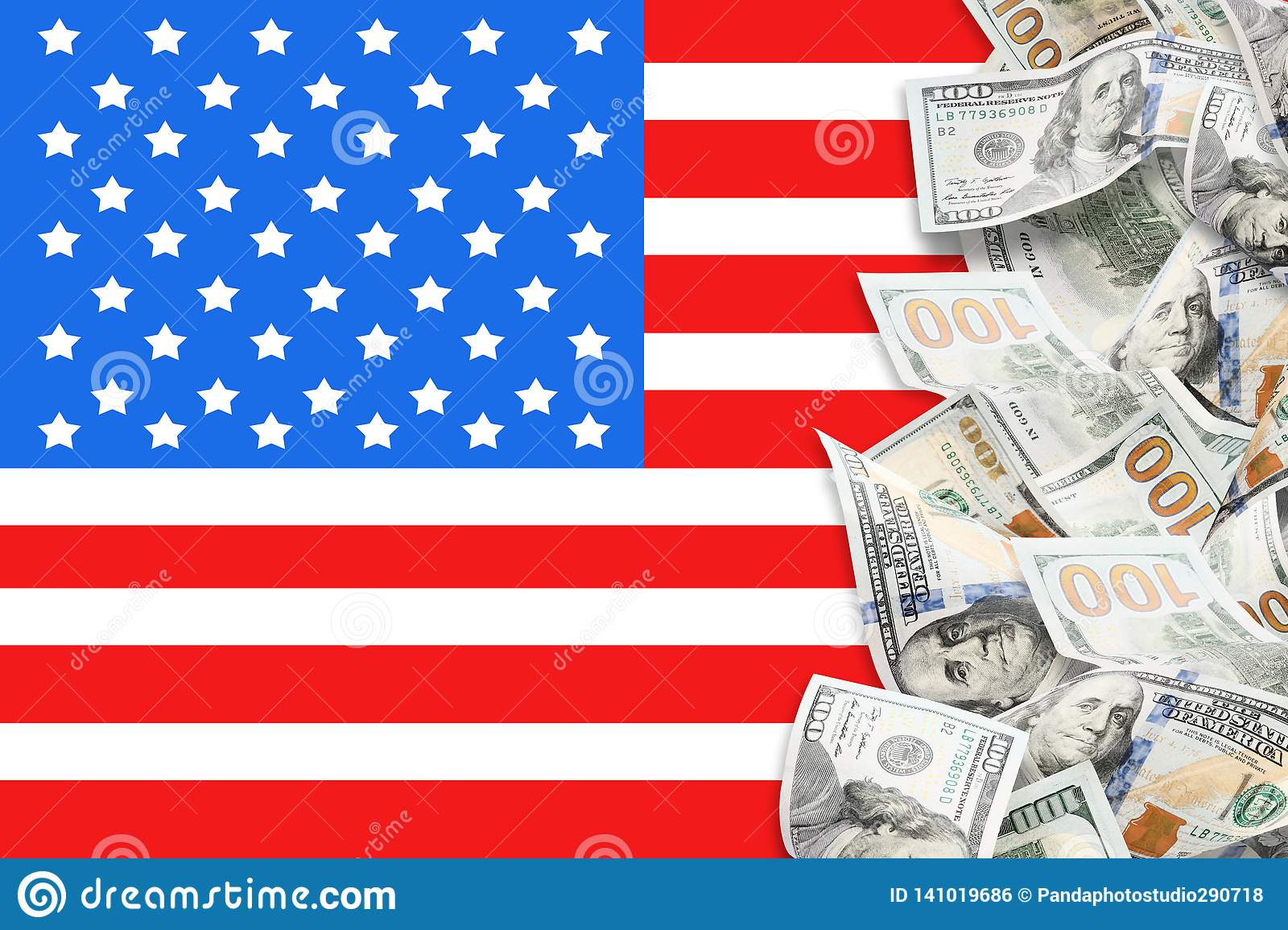 A lot of dollars and american flag