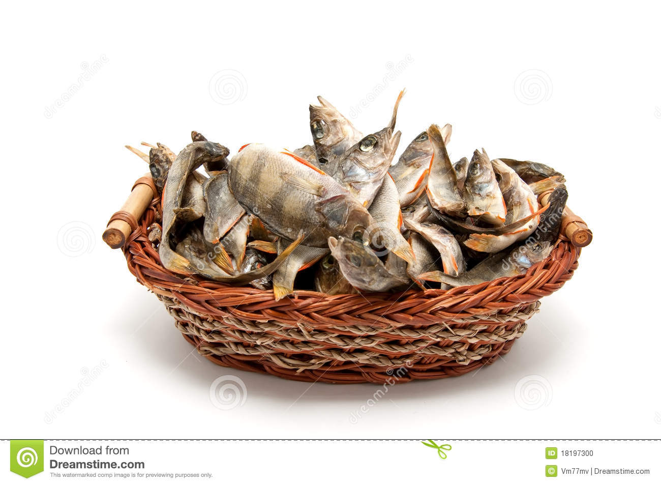 A Lot Of Dried Fish In A Basket Stock Photo Image 18197300