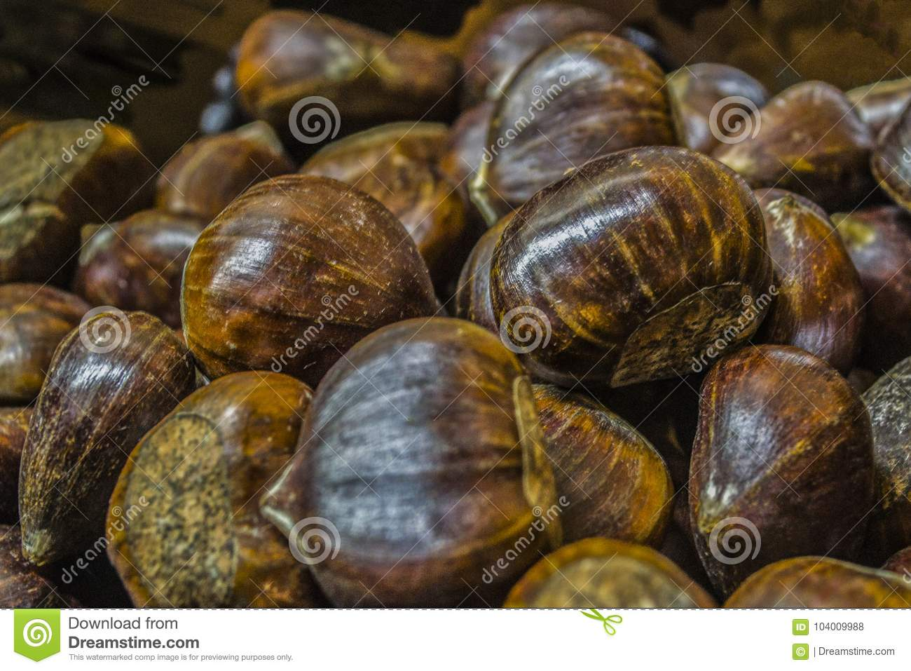 A lot of edible chestnuts