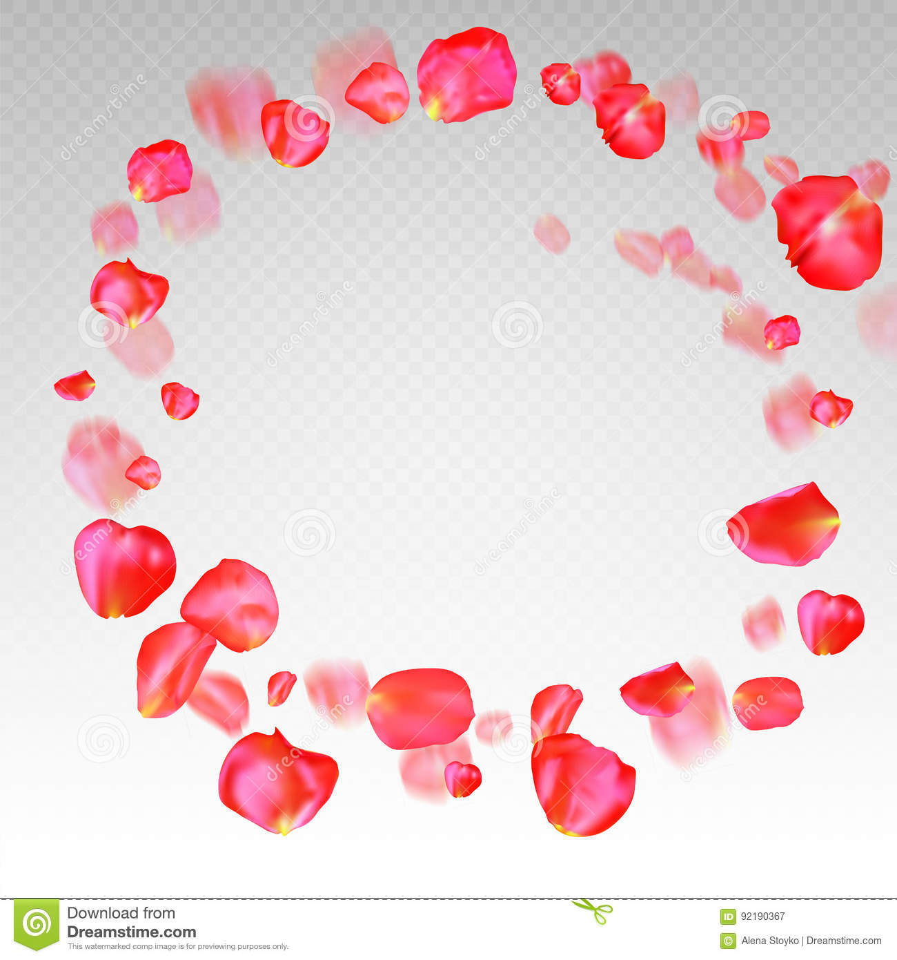 A Lot Of Falling Red Rose Petals On Transparent Background Stock
