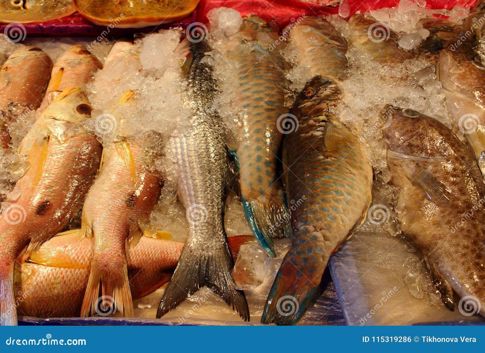 Pile of fresh sea fish on market