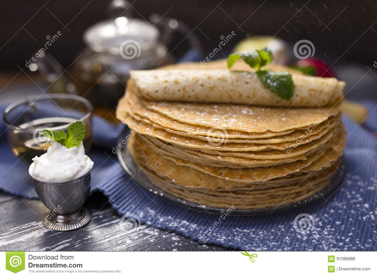A lot of homemade crepes