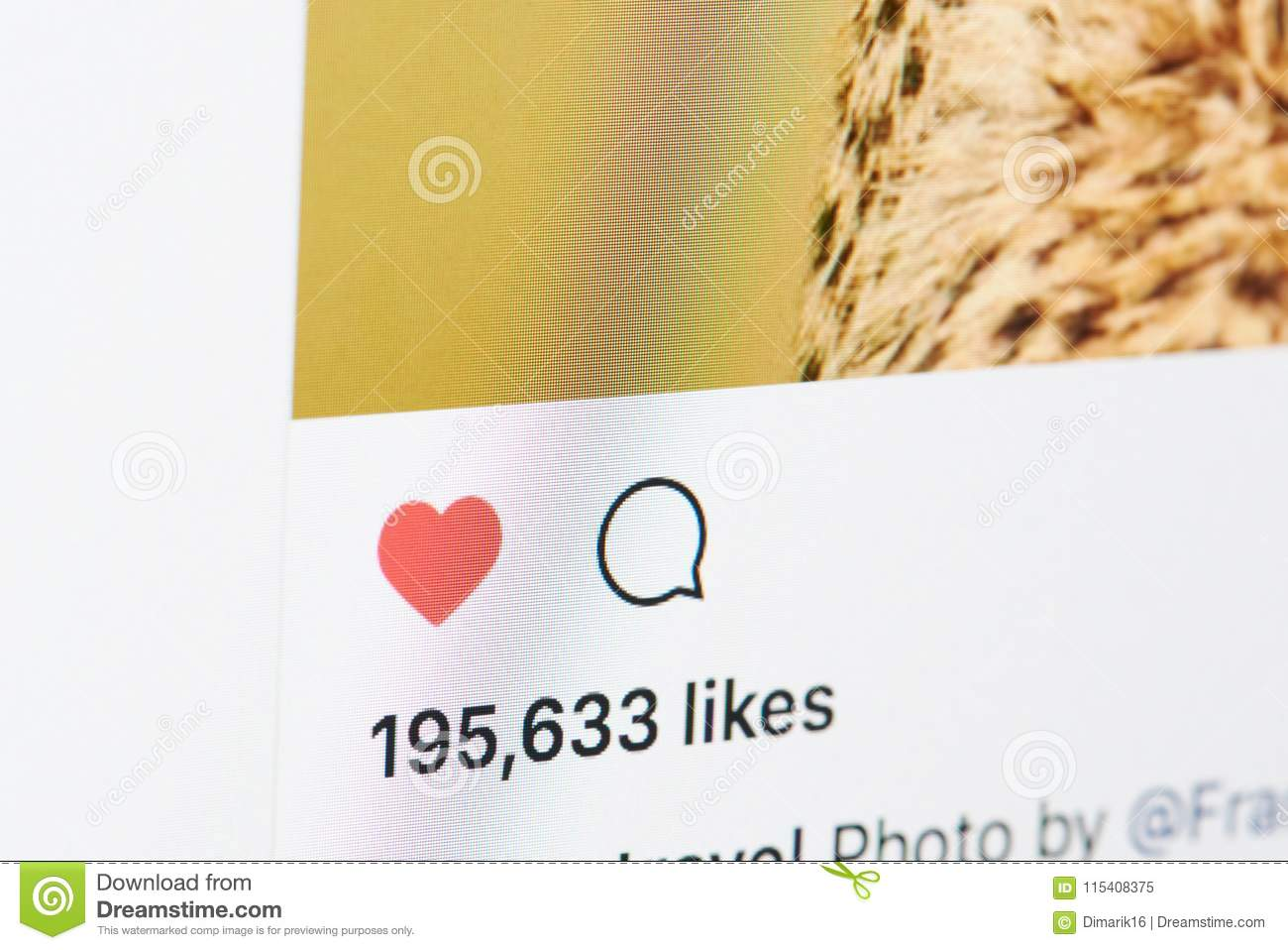 A Lot Of Likes In Instagram Post Editorial Image - Image of