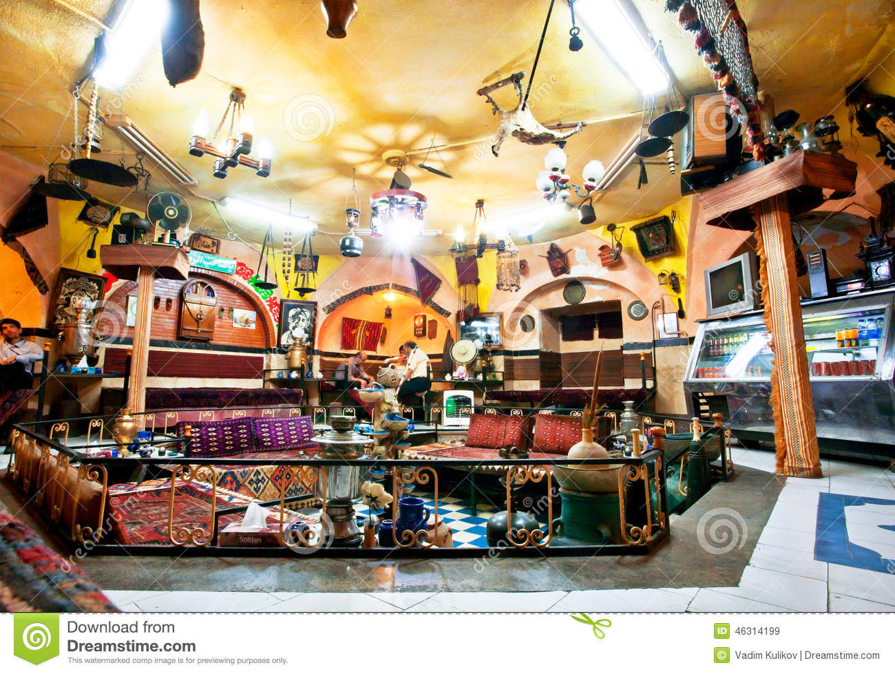 Lot Of Old Furniture In A Traditional Persian Restaurant