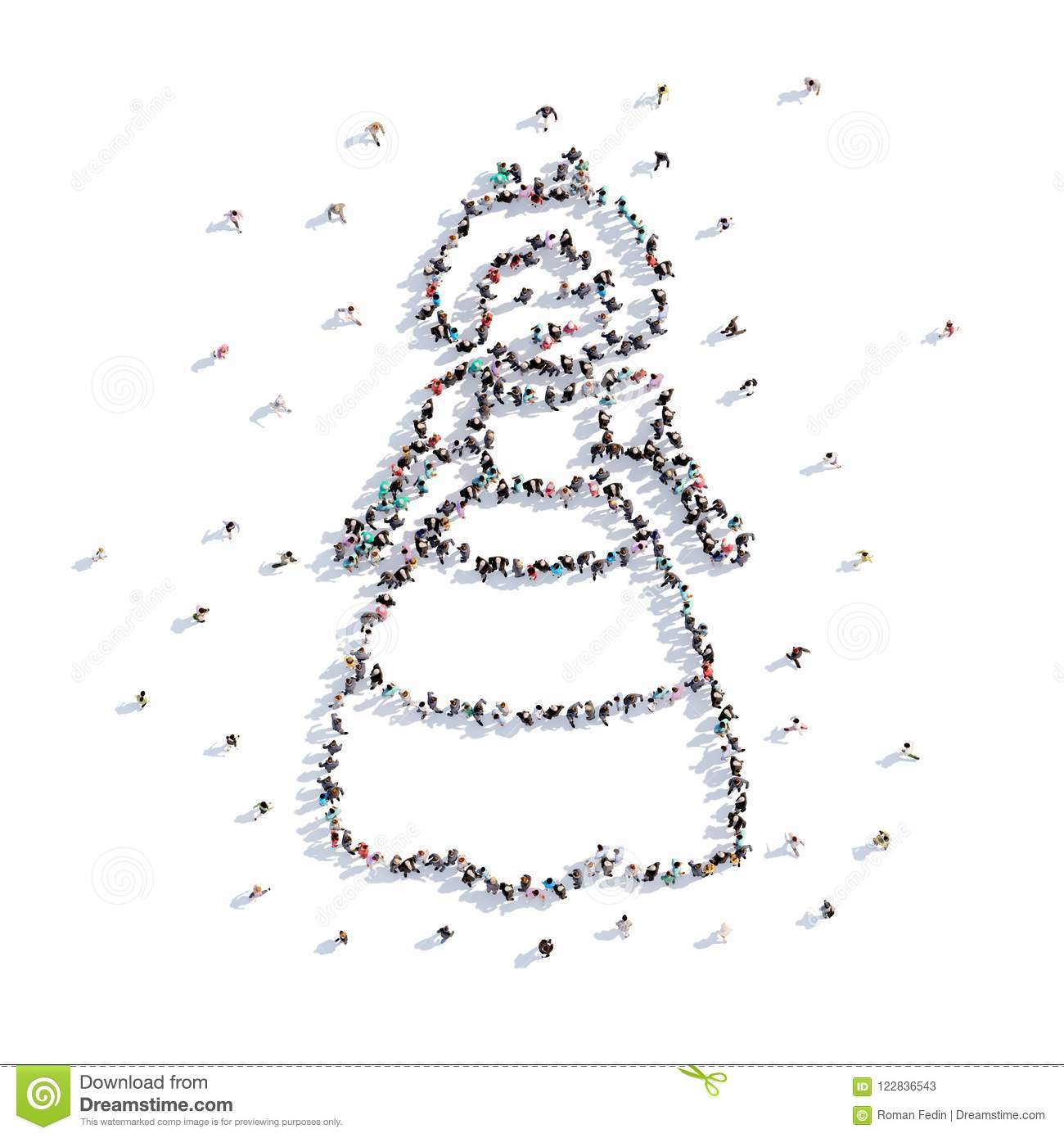 a lot of people form baby doll, hand drawing . 3d rendering. stock