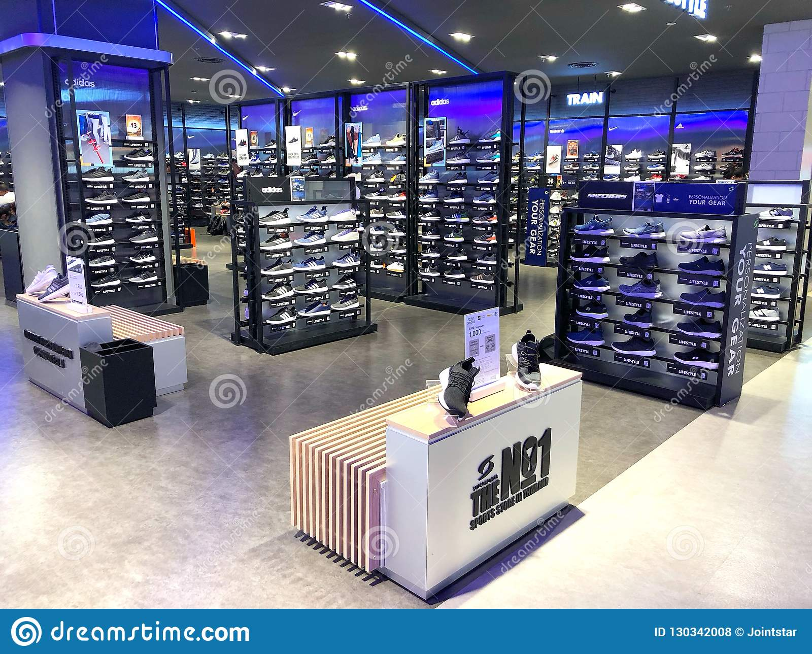 4188d6577 BANGKOK THAILAND - 30 OCT 2018: Lot of sport Shoes on Shelf in Super sport  area at Central World Shopping mall in Bangkok