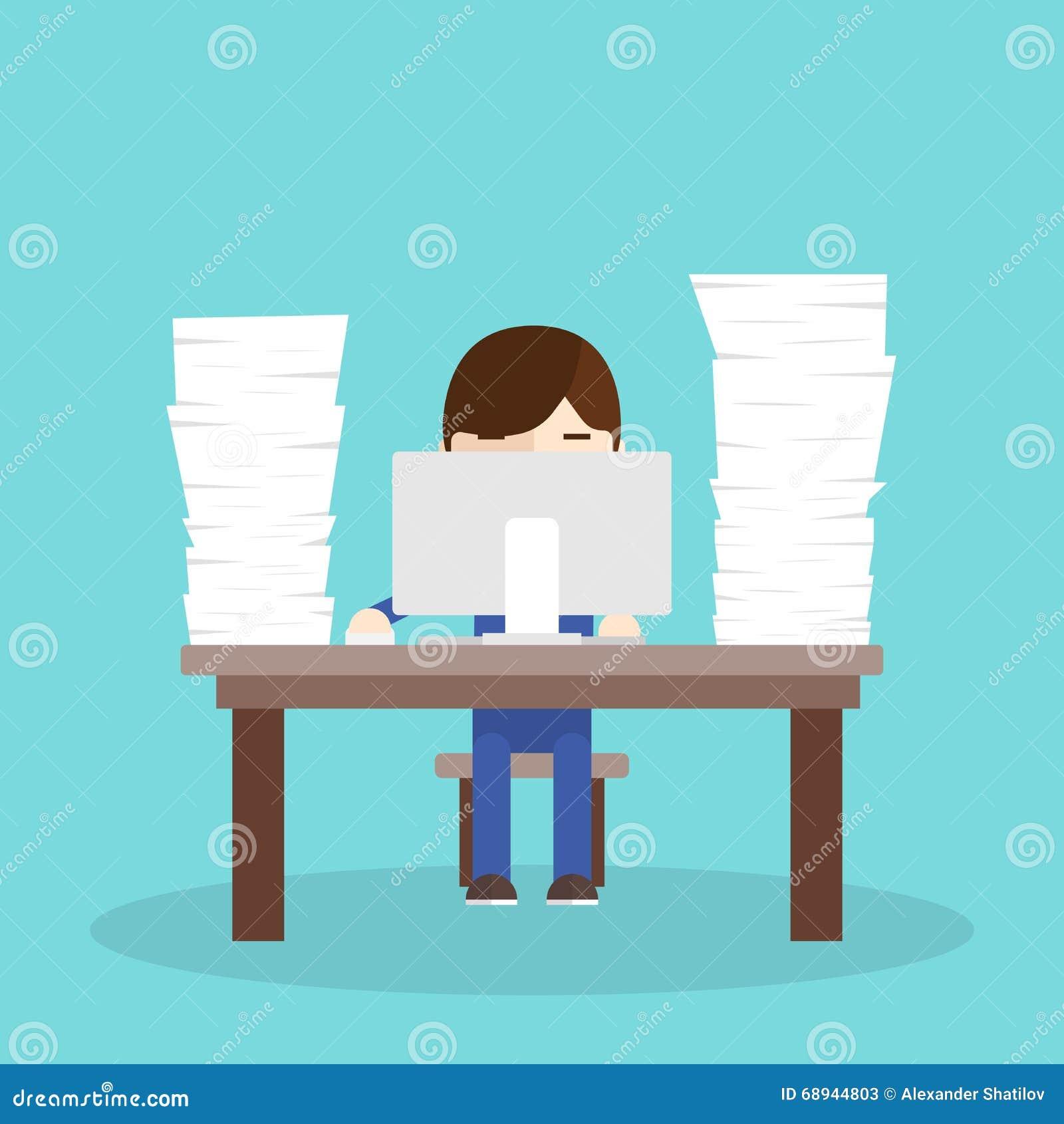 Lot Work Worker Sitting Desk Computer Bunch Documents on Unhappy Man Cartoon