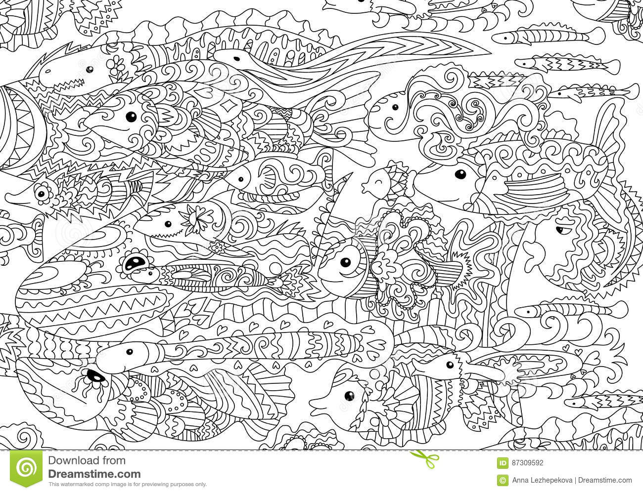 lot zentangle fish floats adult antistress coloring page tracery style black white hand drawn doodle oceanic animals