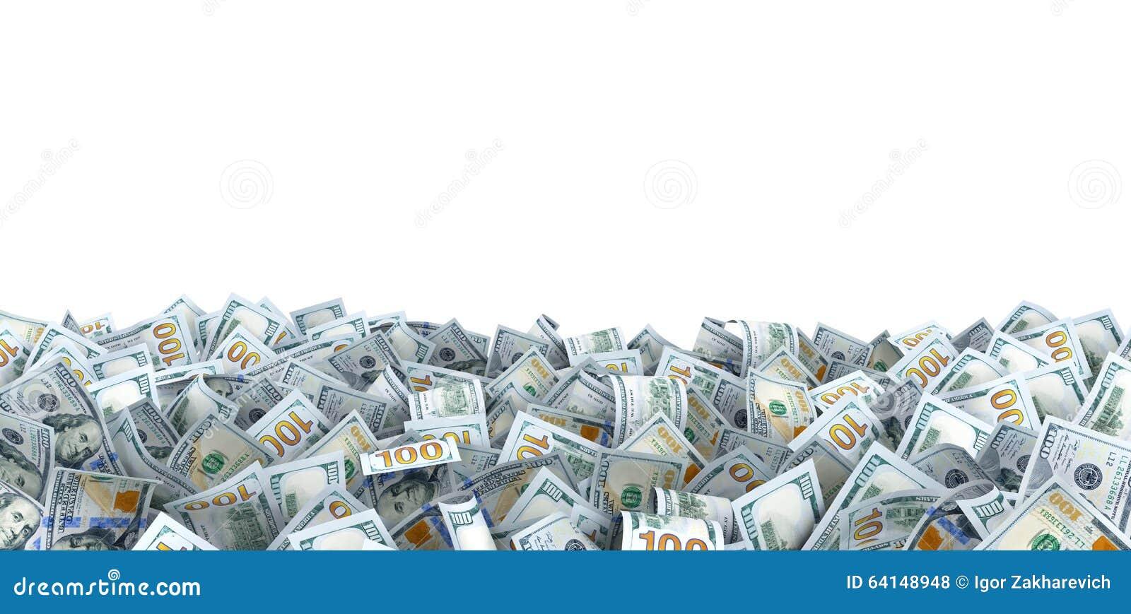 Lote de bancnotes do dólar com um lugar para seu texto