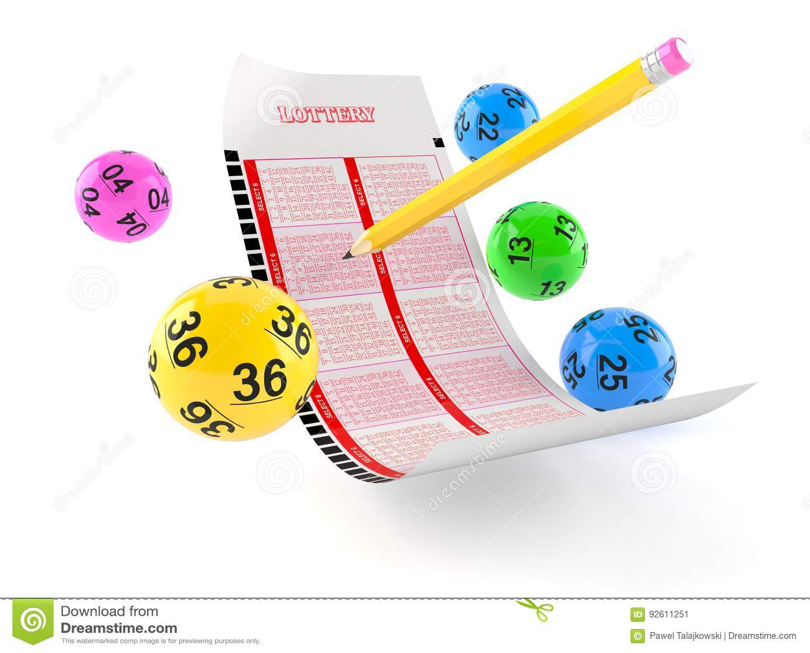 Loterij leeg kaartje met lottoballen