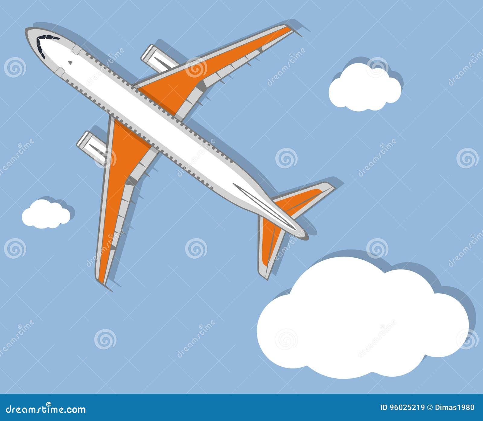 Lotnictwo plakat z dżetowym samolotem w niebie