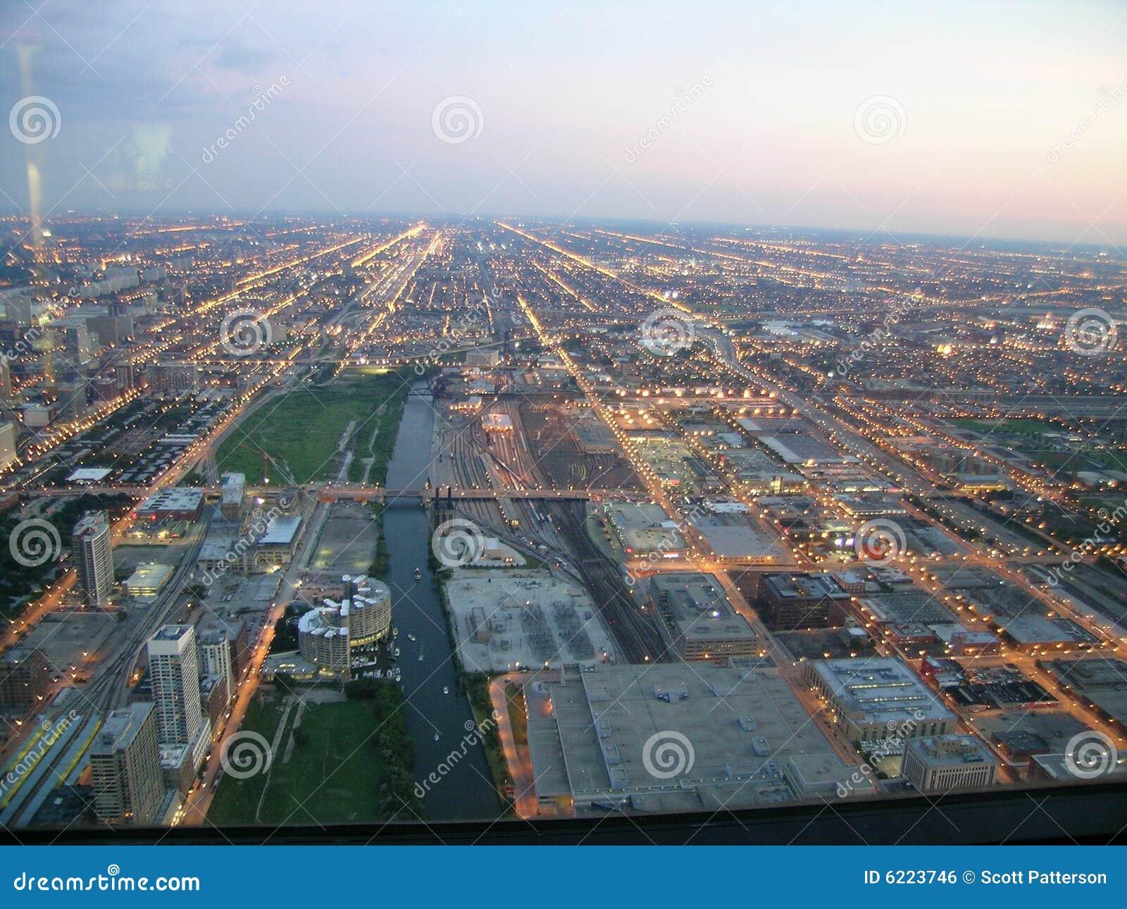 Lotniczy Chicago sunset widok