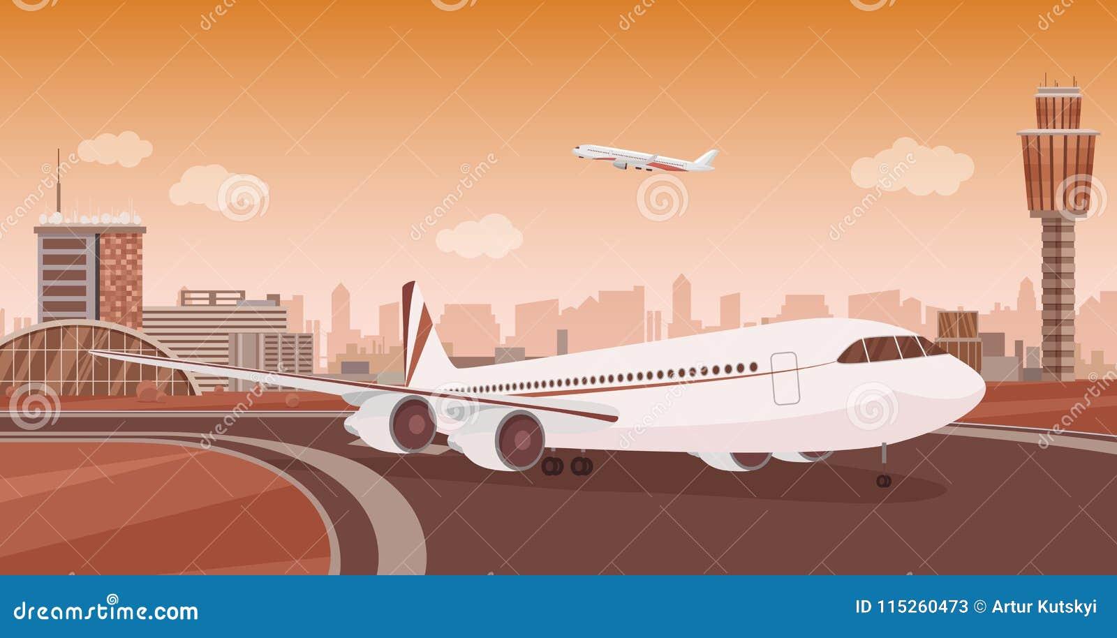 Lotniskowy Śmiertelnie budynek z samolotem bierze daleko Monochromatycznego mono koloru lotniska wektorowy krajobraz