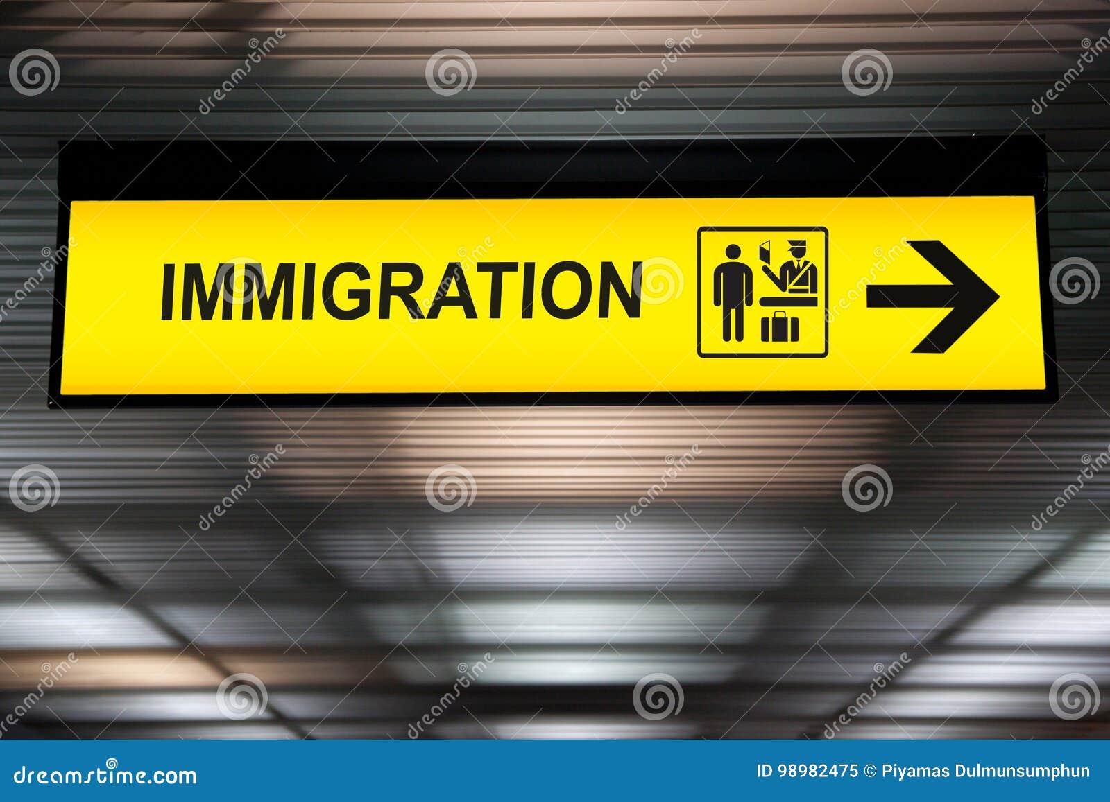 Lotniskowy imigraci i customs znak
