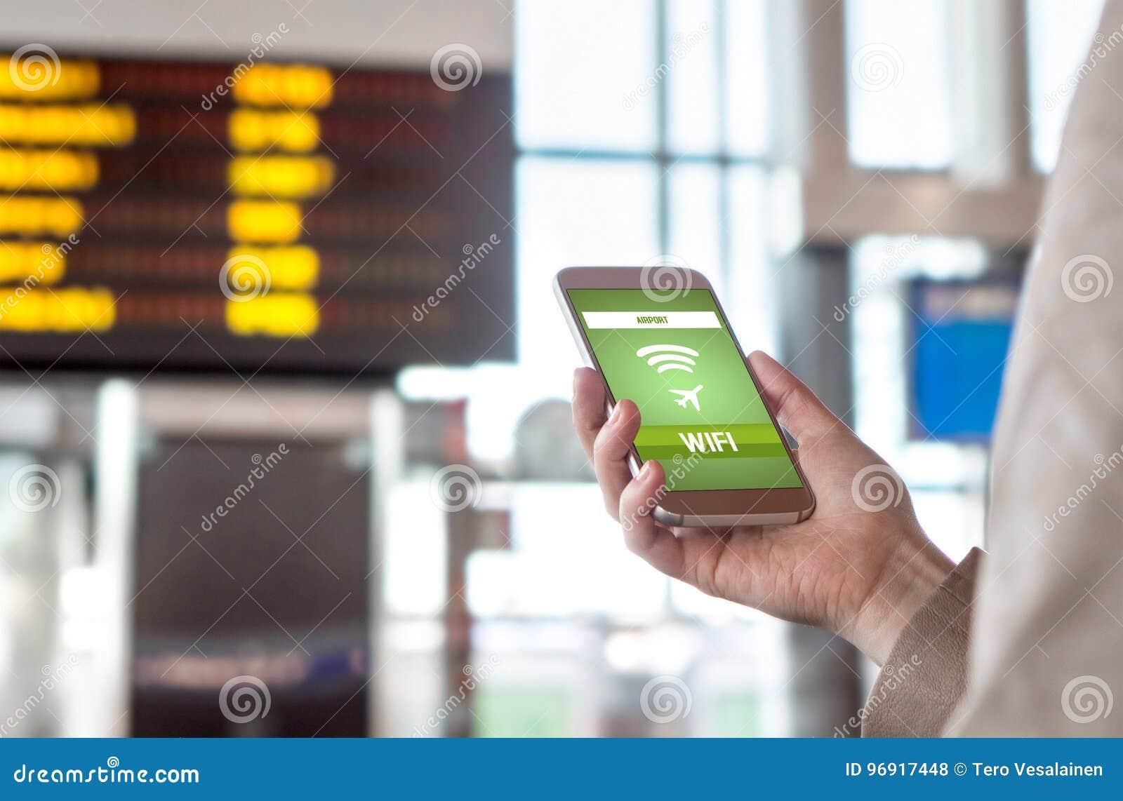 Lotniskowy wifi Bezpłatny bezprzewodowy połączenie z internetem w terminal