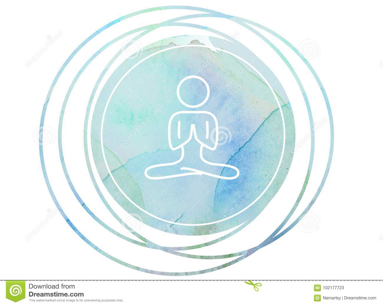 Loto circolare del OM di simbolo di meditazione della mandala dell acquerello