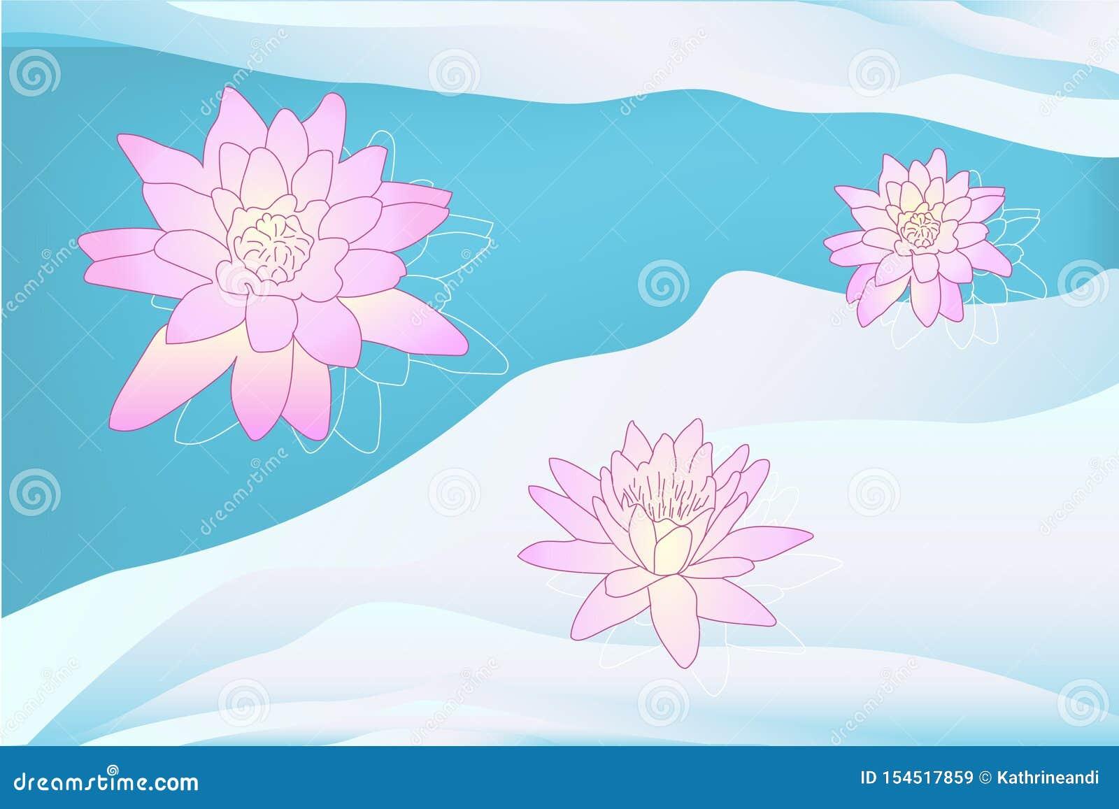 Loto colorido del vector en el color rosado del agua azul