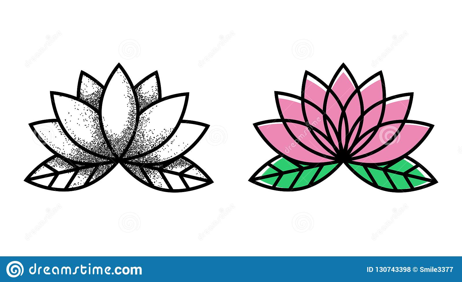 Lotos Tattoo Flower Tattoo Traditional Black Dot Style And Color