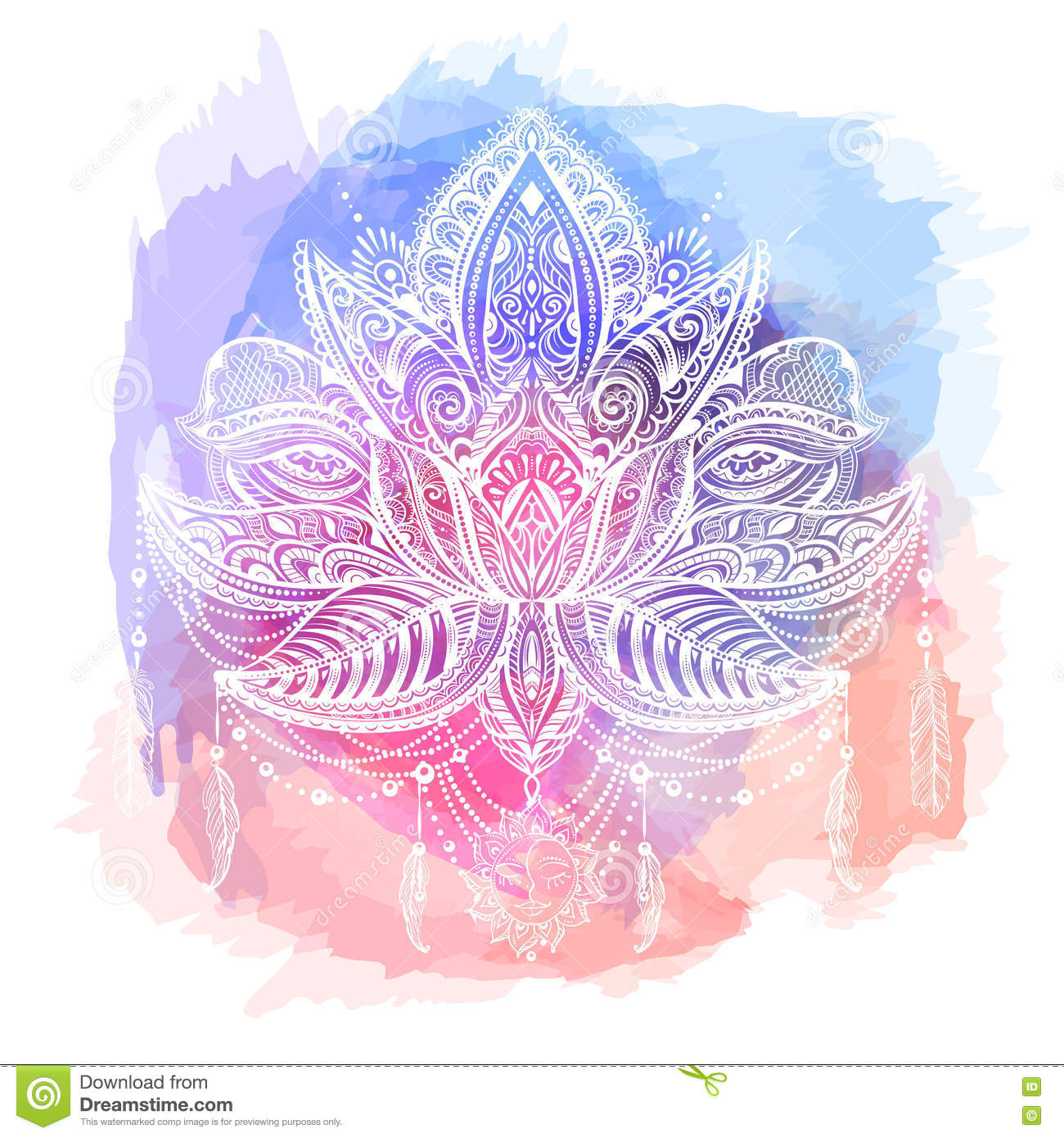 lotos tattoo vector stock illustration illustration of