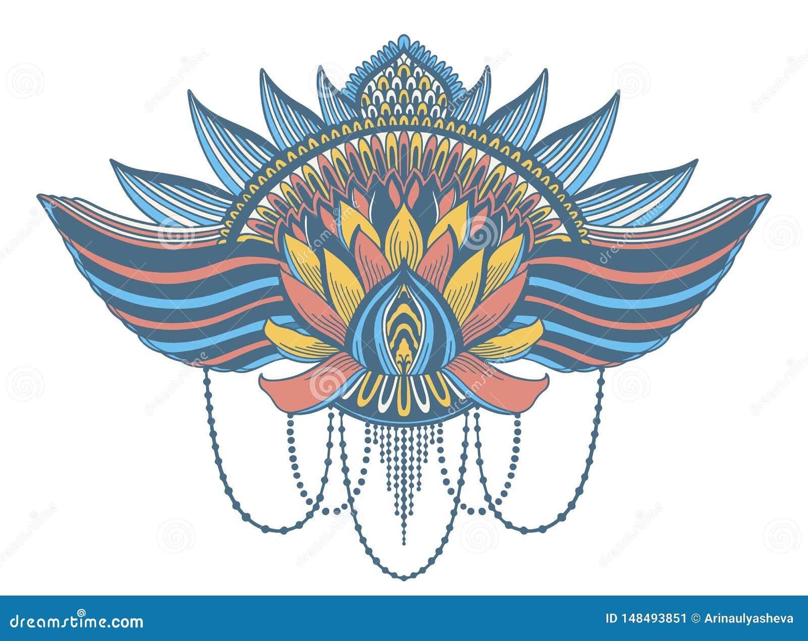 Lotosowego kwiatu etniczny symbol Tatua?u projekta motyw, dekoracja element Szyldowa Azjatycka duchowo??, nirwana i niewinno??,