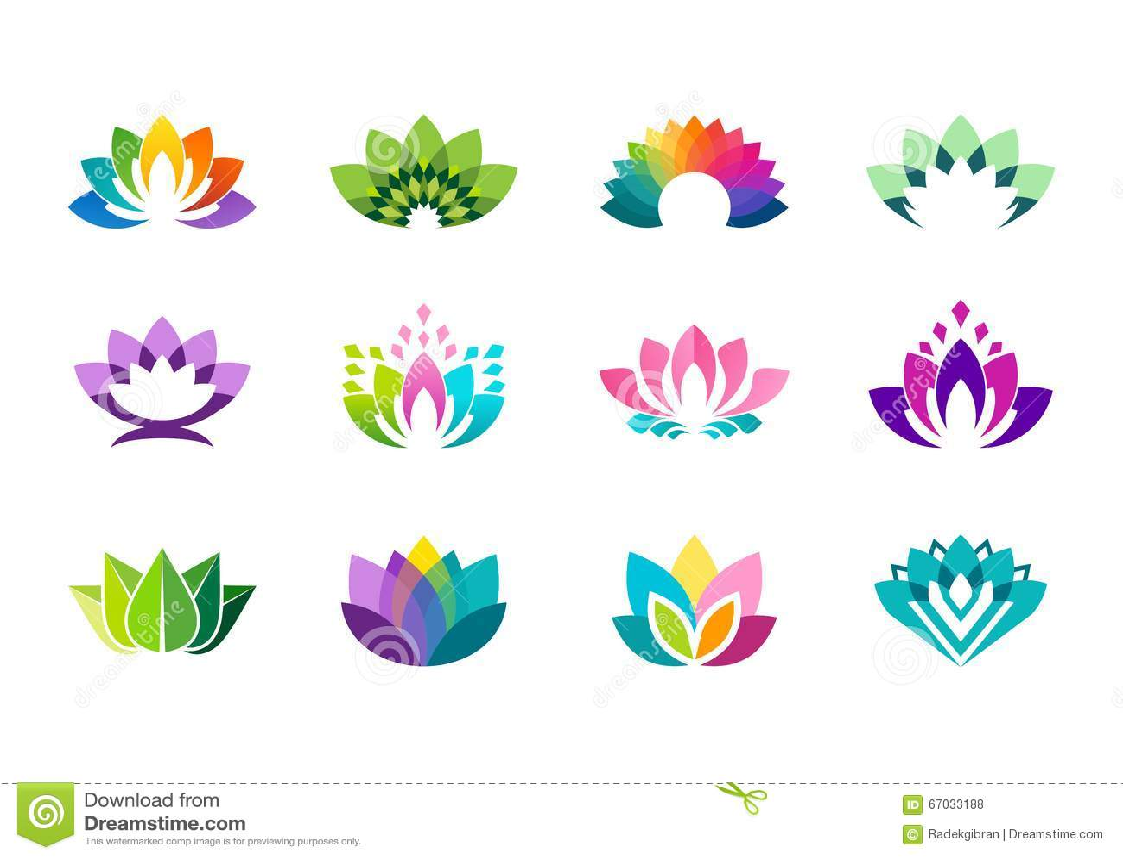 Lotosowy logo, lotosowych kwiatów logotypu wektorowy projekt