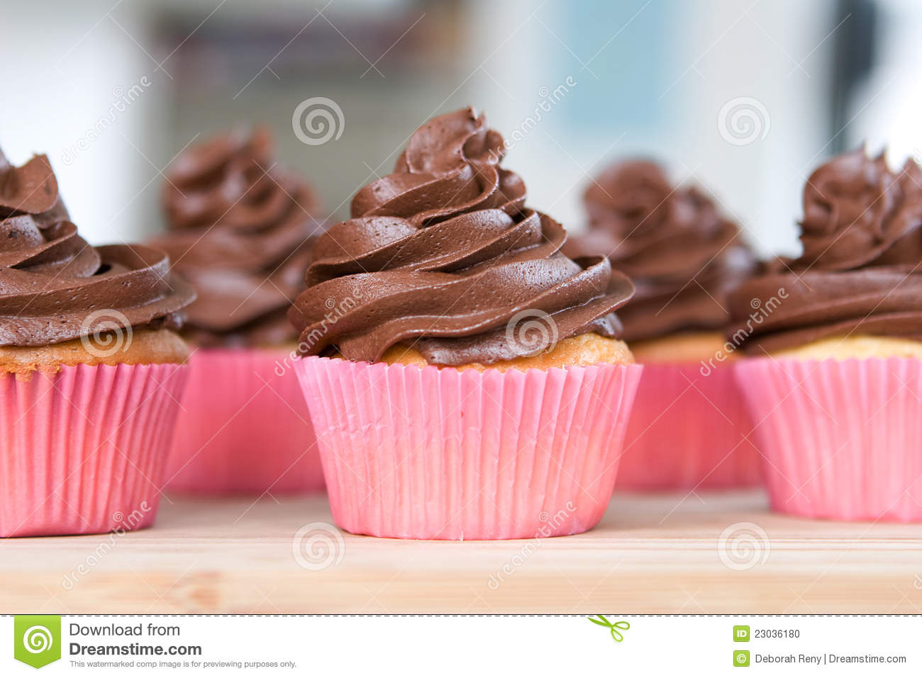 Lots Of Chocolate Frosted Cupcakes Stock Photo - Image ...