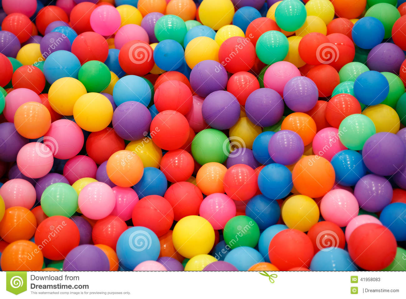 Lots Of Colorful Plastic Balls For Kids To Play Stock