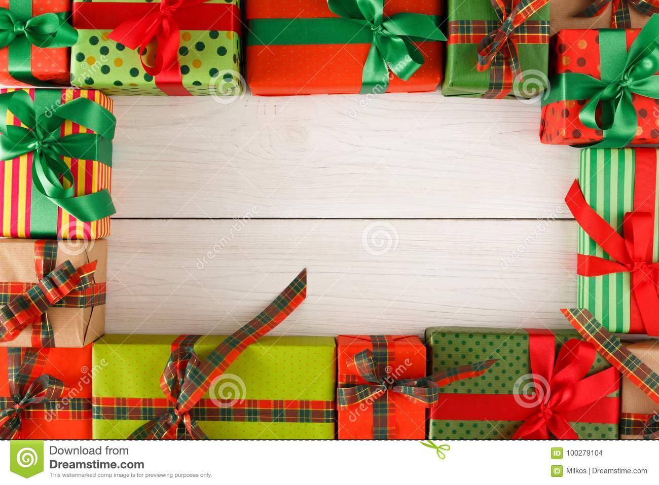 Lots Of Creative Christmas Gift Boxes On Wooden Background Stock ...