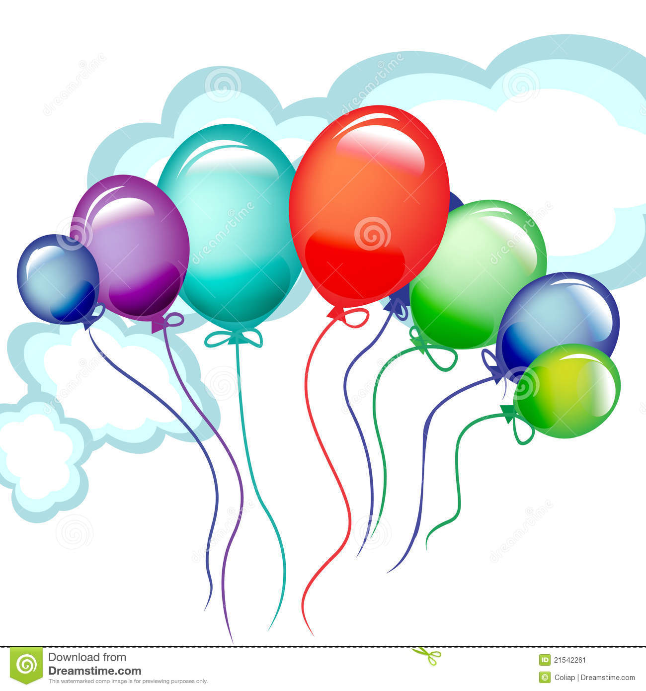 Lots Of Flying Celebration Balloons Stock Image - Image: 21542261