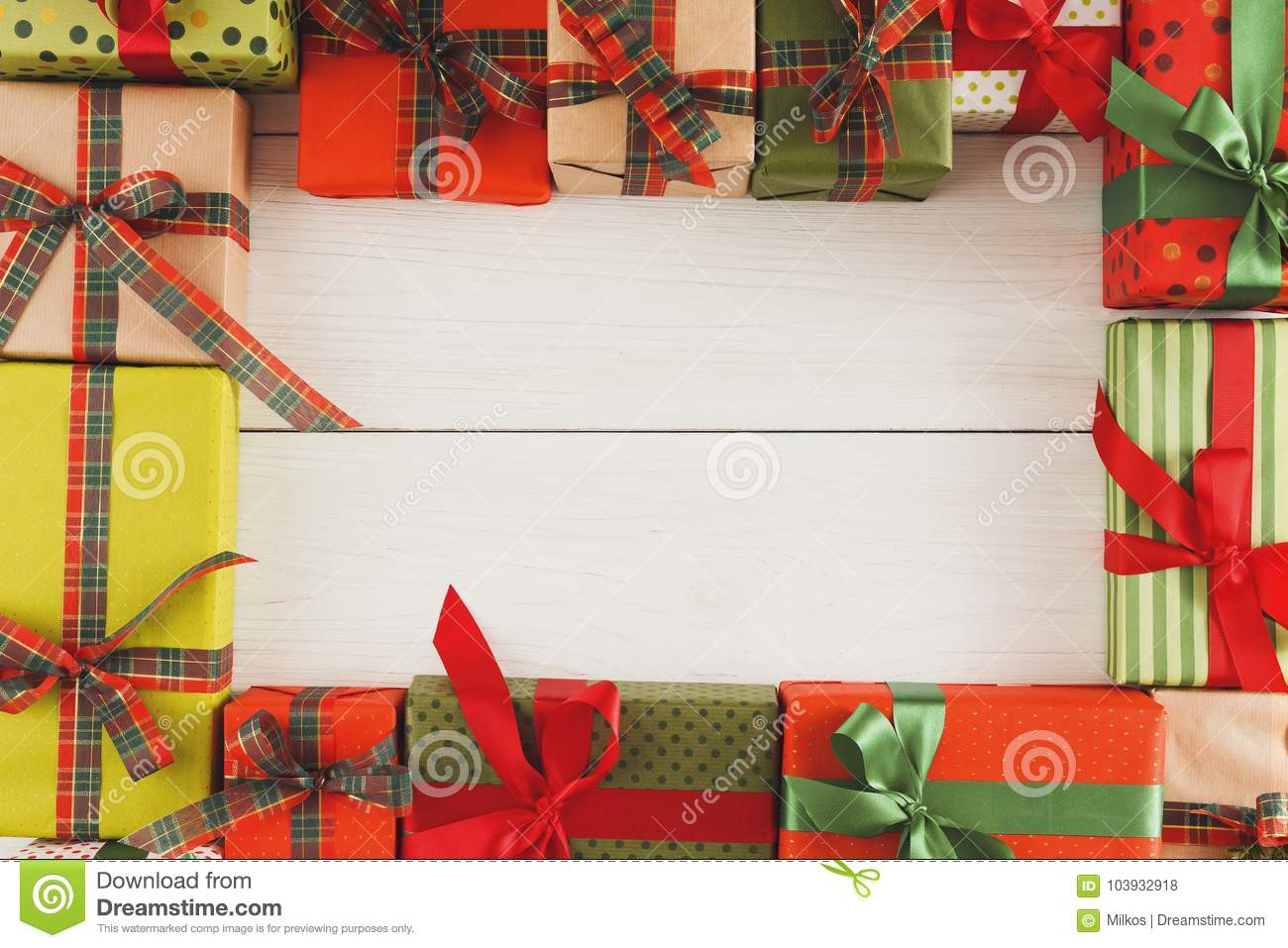 Lots Of Gift Boxes On White Wood, Christmas Presents In Paper Stock ...