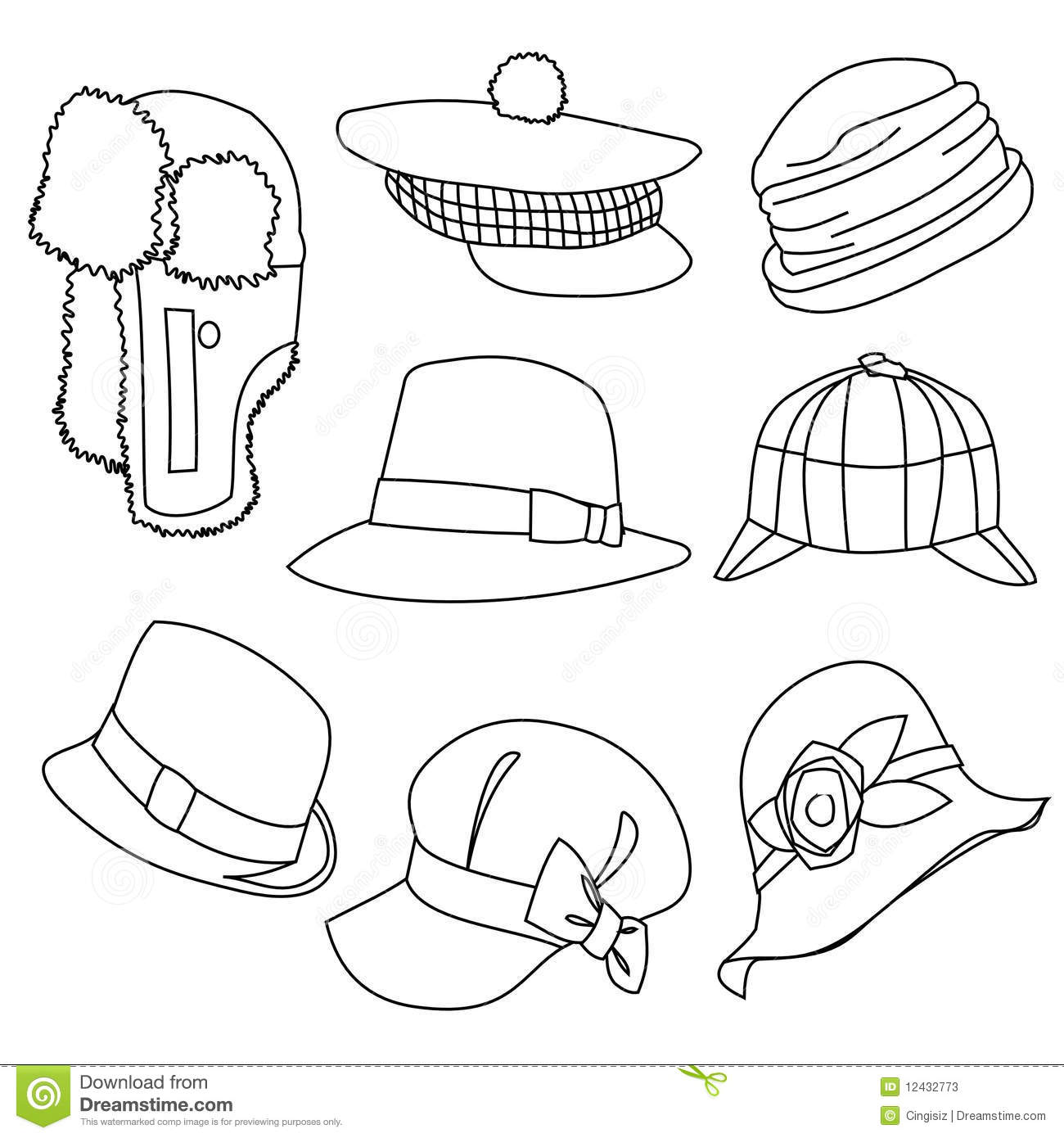 Line Drawing Styles : Lots of hats line style drawing stock photos image
