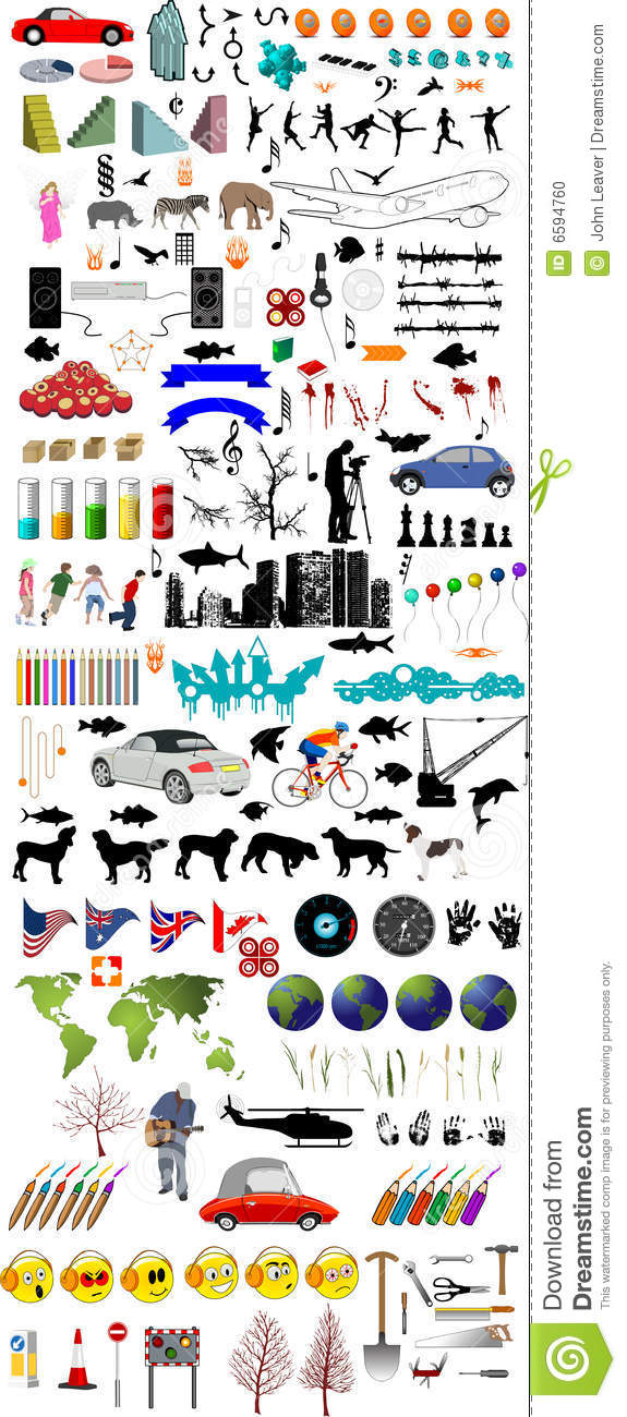 Lots of illustration elements including cars people animals trees shapes and lots lots more