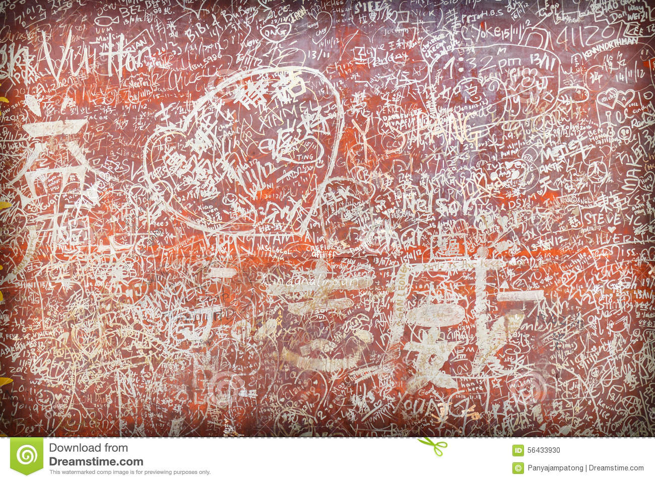 Lots of love carvings initials symbols stock photo image for Lots of pictures on wall