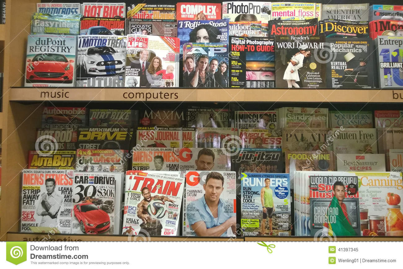 Lots of magazines on shelves