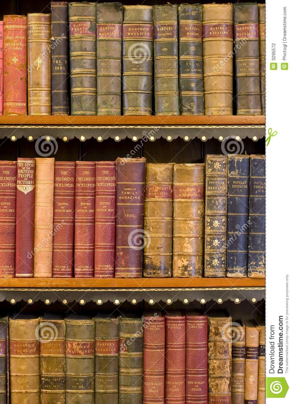 Lots Of Old Books In A Library Stock Photo - Image of ...